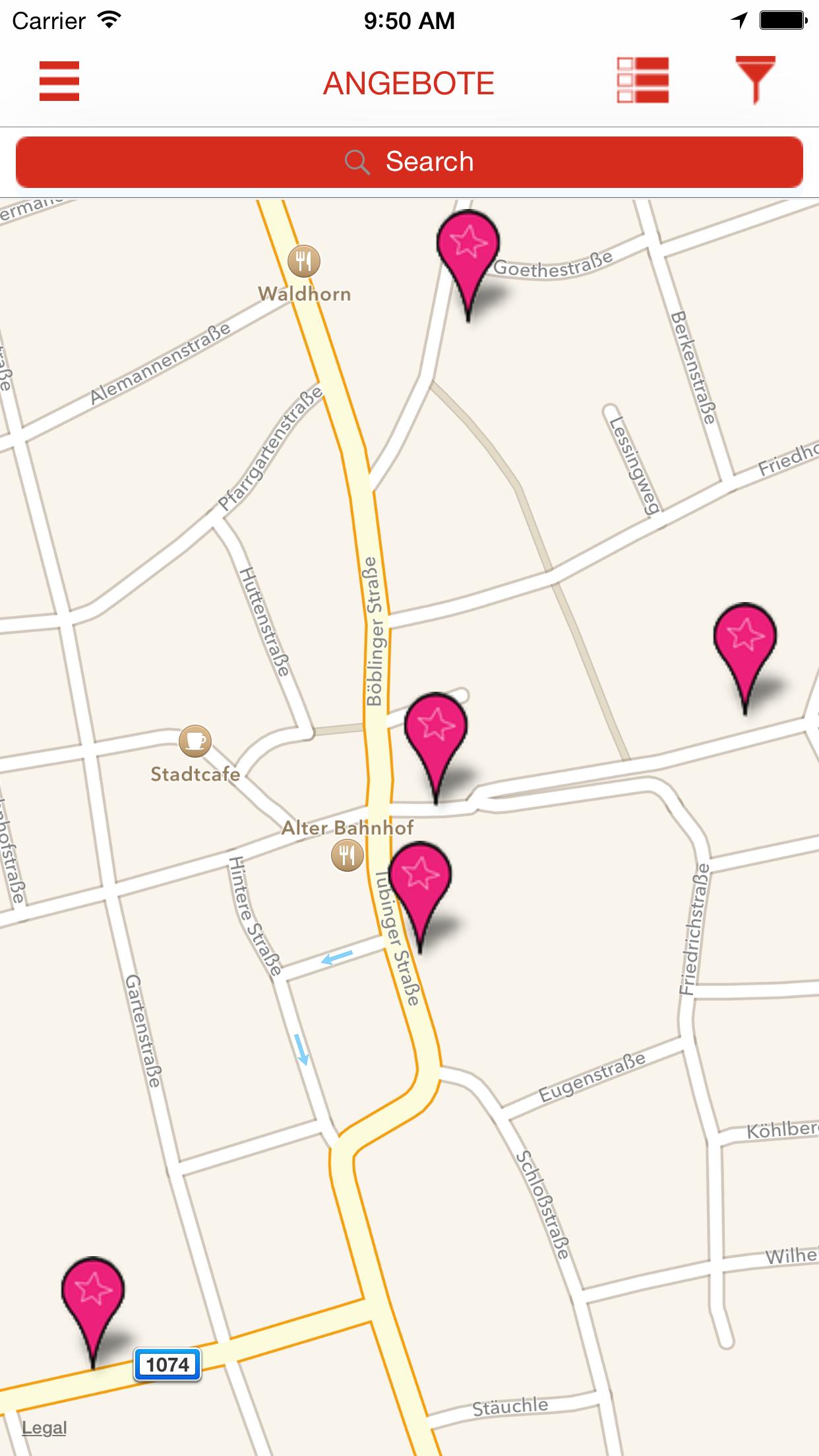 Angebote Interaktive Karte
